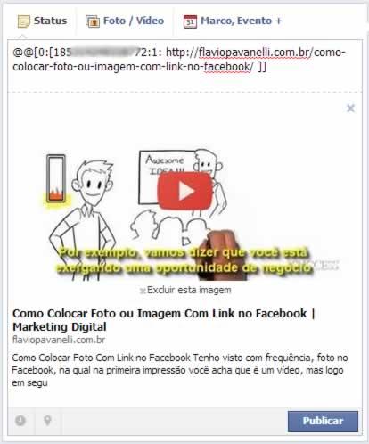como colocar  fotos com link no facebook com play do youtube 2